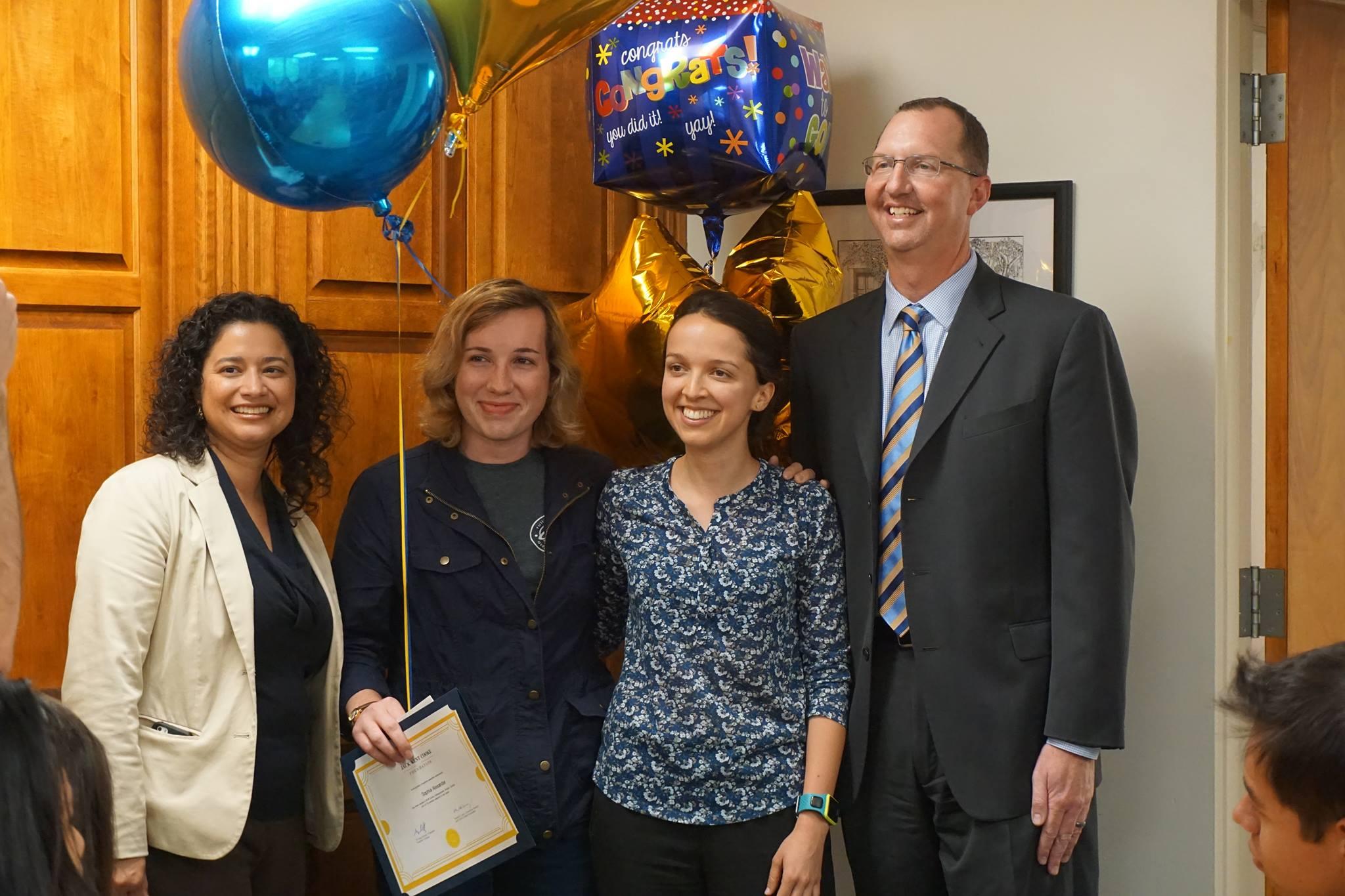 A.S. President Sophia Alexander wins the Jack Kent Cook Scholarship!